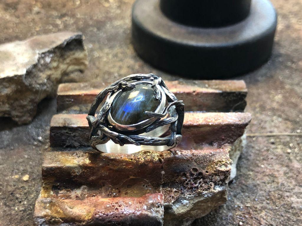 Komplexer, silberner Ring mit einem schwarzen Schmuckstein, der von Ranken gehalten wird.